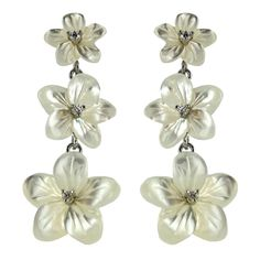 Sterling Silver Mother-of-Pearl Flower Cubic Zirconia Graduated Drop Earrings - Fire & Ice