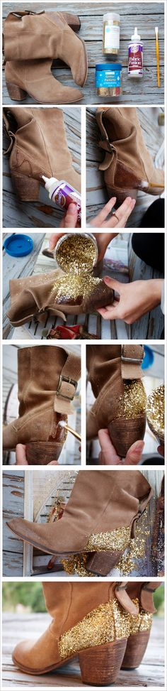 She glittered her boots!  Amazing!