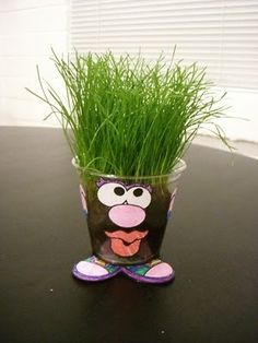 Downloaded the Mr. Potato Head printables (filed under Science).  Just grow grass seed in a cup and add face parts...so cute! by alberta