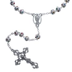 This rosary has a significant weight, and is perfect for individuals looking for an ornate and substantial rosary. The large silver beads and scattered with multicolored crystals making this a unique (and shiny) piece.