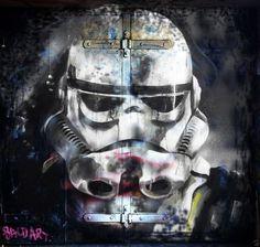 star wars  STREET TROOPER URBAN GRAFFITI canvas  50X50cm Andy Baker