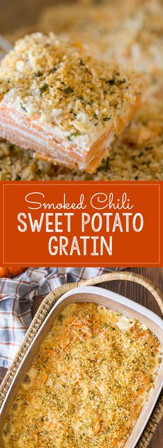 Smoked Chili Sweet Potato Gratin - A spicy twist on the traditional sweet potato dish that is perfect for your Thanksgiving table!