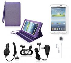 COD(TM) Stand Leather Case with Charger and Screen Protector For Samsung Galaxy Tab 3 7.0 (6-Items)