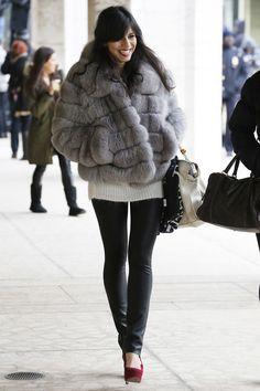 Los mejores looks de Street Style en la Semana de la Moda de Nueva York: leggins de cuero
