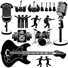 rock and roll music set Royalty Free Stock Vector Art Illustration