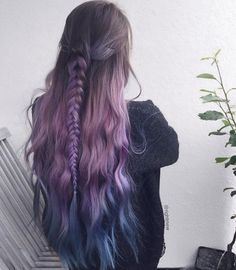87 unique ombre hair color ideas to rock in 2018 - Hairstyles Trends Hair Dye Colors, Ombre Hair Color, Cool Hair Color, Purple Hair, Blue And Red Hair, Hair Colour, Aesthetic Hair, Dye My Hair, Crazy Hair