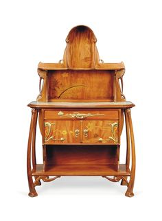 A LÉON BENOUVILLE CARVED MAHOGANY, MARQUETRY AND MARBLE TOPPED BUFFET -  CIRCA 1900