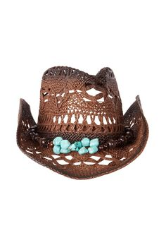 Miss June s cowboy hat with memory wire and beaded detail. Chocolate weave  with a turquoise 9b750fa3d05f
