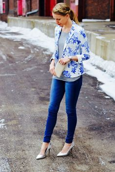 House of Charms Blog // Spring Fashion // Floral Blazer // silver heels // dressy casual