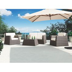 Armen Living Transitional Aruba 4-piece Outdoor Wicker Set with White Cushions,, Patio Furniture