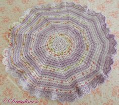 "Cat Bed Crochet Crate LG 20"" Mat Sleep Dog Pet Blanket Washable Acrylic Purple #Handmade"