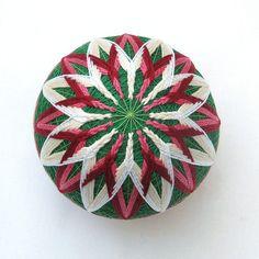 Temari Ball Japanese Thread Ball Ornament by PennyFabricArt