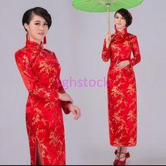 Vintage Chinese Womens Long Qipao Cheongsam Wedding Evening Wedding Dress Red Us