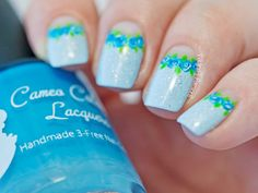 Blue Floral Half moon Nails by Paulina's Passions