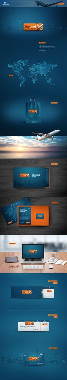 Projeto de identidade visual criado para o cartão TripCard, um vale-viagem para as empresas presentear funcionários. Para o projeto foram utilizados elementos que simbolizam pontos turísticos mundiais com as cores já utilizadas pela empresa.