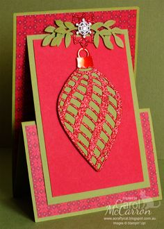 =A Crafty Cat: 2015 Christmas - Stampin' Up! Z fold Easel card using the Delicate Ornament thinlits