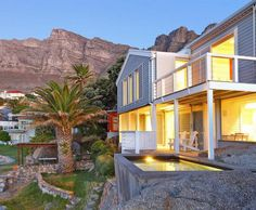 Beach Cottage in Bakoven, Camps Bay V&a Waterfront, Getaway Cabins, Table Mountain, Types Of Flooring, Wood Laminate, Beach Cottages, Log Homes, Cape Town, The Rock