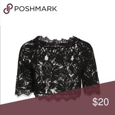 Black lace cropped top ♥️ Black lace cropped top! NWT candlesfashionhouse Tops Crop Tops