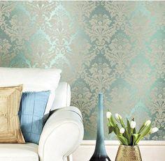 Verde não tecido de papel de parede do damasco papel de parede para sala TV fundo WP022 papel de parede em Papéis de parede de Melhorias na casa no AliExpress.com | Alibaba Group