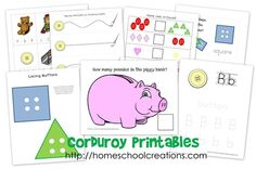Corduroy Printables collage page activities from the story Corduroy Preschool At Home, Preschool Kindergarten, Kindergarten Readiness, Preschool Books, Toddler School, Tot School, Printable Activities For Kids, Book Activities, Free Printables