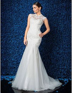 Trumpet/Mermaid Wedding Dress Sweep/Brush Train Tulle High Neck with Side Draping and Beading Appliques