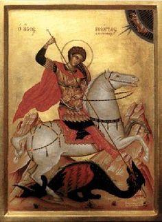 Serigraph Wood Greek Icon Saint George 11 Comes W Stand Saint George And The Dragon, Greek Icons, St Georges Day, Saint Emilion, Byzantine Icons, Dragon Slayer, Prayer Cards, Orthodox Icons, Medieval Art