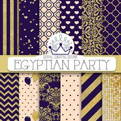 "Purple digital paper: ""EGYPTIAN PARTY"" with purple background, purple scrapbook paper, dark purple and gold, glitter, chevron, gold"