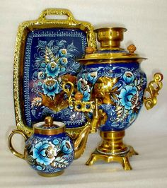 Samovar, tea pot and serving tray