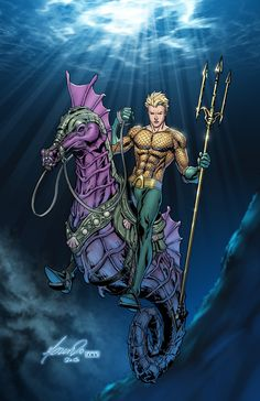 Aquaman by Marcus To and Randy Mayor (Colours); King Arthur on his noble steed, Sir Storm