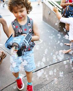 Thanks for the bubble gun suggestion he had a BLAST!  #Disneyland #northernstylefamily #familytravel #bubbles