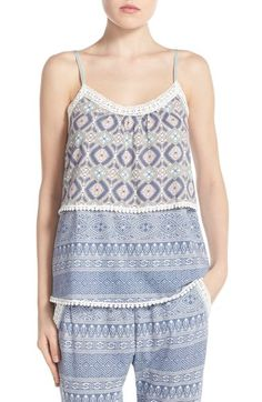 Free shipping and returns on PJ Salvage Tiered Lace Camisole at Nordstrom.com. Crafted from a supersoft blend of cotton and modal, this swingy camisole is perfect for sleeping, lounging or just hanging out in cool mixed prints and pretty crochet trim