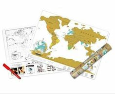 Scratch off world map; scratch off where you've visited