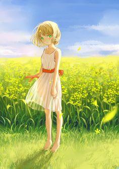 ✮ ANIME ART ✮ summer time. . .summer dress. . .short hair. . .flowers. . .field. . .flower petals. . .blowing in the breeze. . .sky. . .nature. . .cute. . .kawaii
