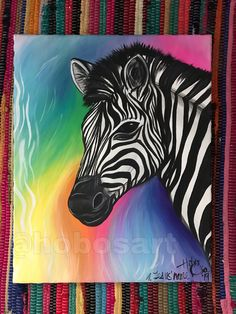 Items similar to Rainbow Zebra Painting on Etsy Black Background Painting, Zebra Painting, Rainbow Zebra, Rainbow Background, Colorful Wall Art, White Zebra, Color Of Life, Black Backgrounds, Original Paintings