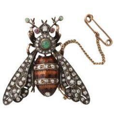 1930's  Edwardian Enamel Diamond and Gold Bumble Bee Brooch