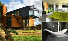 Patrick Bradley from County Derry in Northern Ireland designed his ultra-modern home from four recycled shipping containers, but that didnt stop him making it a luxurious bolthole. Sea Container Homes, Container House Design, Container Architecture, Architecture Design, Grand Designs Uk, Shipping Container House Plans, Shipping Containers, Ultra Modern Homes, Facade House