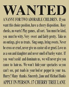 This is a great description of my daughter. She's a nanny beloved of all of the children for whom she has had charge. Mary Poppins, indeed!