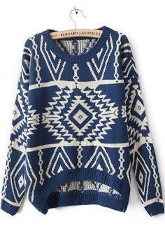 Blue Long Sleeve Geometric Pullovers Sweater - Sheinside.com