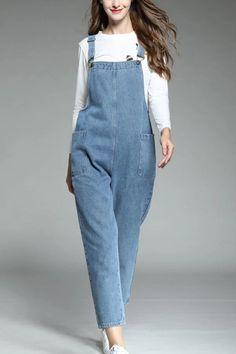 🙌Jumpsuits & Rompers🙌 – Page 2 – mumudaily Loose Jeans Outfit, Jumper Outfit, Denim Jumper, Knit Sweater Dress, Cropped Jeans, Denim Dungarees, Dungarees Outfits, Maxi Shirt Dress, Hijab Dress