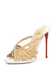 Twist-Front+Raffia+Red+Sole+Mule+Sandal,+Natural/White+by+Christian+Louboutin+at+Neiman+Marcus.
