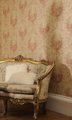 Serenade Toile Wallpaper Traditional pictorial toile de jouy design in greens printed on cream