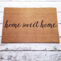 Home Sweet Home Welcome Mat / Doormat Door Mat Gift by LoRustique Front Door Decor, Front Door Mats, Front Doors, Front Porch, Welcome Mats, Trendy Home, Humble Abode, Little Houses, First Home
