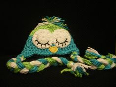 Newborn Hat Sleepy Baby Owl  Lime Green and Mint by MissWishGarden, $34.00