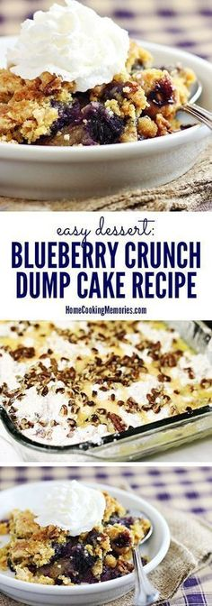 This Easy Blueberry Crunch Dump Cake recipe is so si mple to make! You dump all the ingredients together, then bake, and you have a delicious dessert perfect for everything from a family celebrations to holidays. Top with whipped cream or vanilla ice cream for an even better treat! Delicious Cake for you #cupcake #dessert