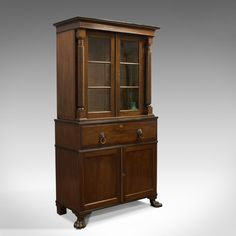 Antique Secretaire Bookcase, Scottish, Mahogany, - Antiques Atlas Bookshelves, Bookcase, Mahogany Cabinets, Panel Doors, Green Leather, China Cabinet, Drawers, Victorian, Antiques
