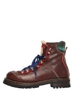 DSQUARED2 - 40MM LACE-UP LEATHER MOUNTAIN BOOTS - LUISAVIAROMA - LUXURY SHOPPING WORLDWIDE SHIPPING - FLORENCE