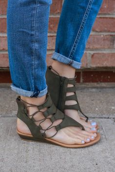 Olive Faux Leather Cutout Accent Mini Wedge Sandal Dartina – UOIOnline.com: Women's Clothing Boutique