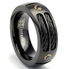 8MM Black Titanium Ring Wedding Band with Black CZ and Black Twisted Stainless Steel Cables Size 11