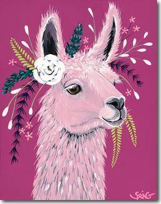 "Unique & Affordable Artwork│Selling Art like Spring Whitaker's ""Lola"" Responsibly Alpacas, Fabric Painting, Fabric Art, Arte Naturalista, Llama Arts, Llama Llama, Cartoon Sketches, Selling Art, Rock Art"