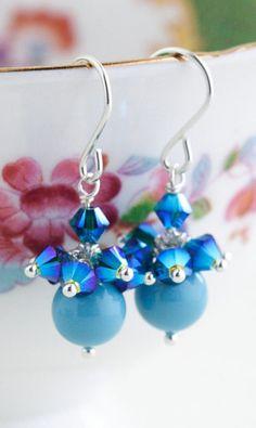 Blue Crystal Earrings Sterling Silver Earrings